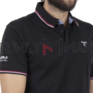 Κοντομάνικο Μπλουζάκι Polo Jersey DOUBLE PS-225S Μαύρο