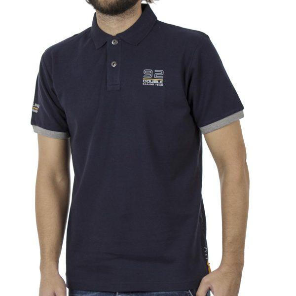 Κοντομάνικο Pique Μπλουζάκι Polo DOUBLE PS-227S Indigo