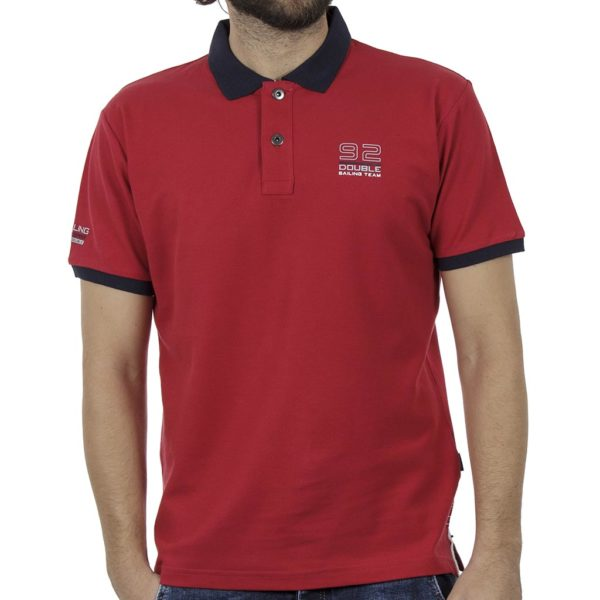 Κοντομάνικο Pique Μπλουζάκι Polo DOUBLE PS-227S Κόκκινο
