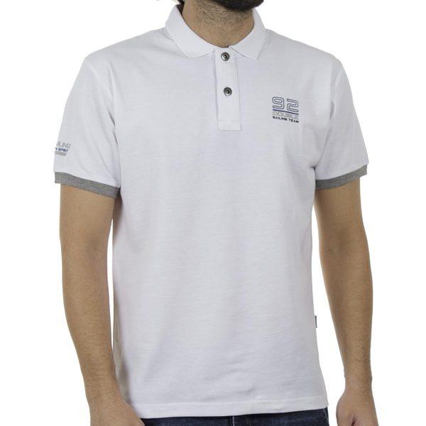 Κοντομάνικο Pique Μπλουζάκι Polo DOUBLE PS-227S Λευκό