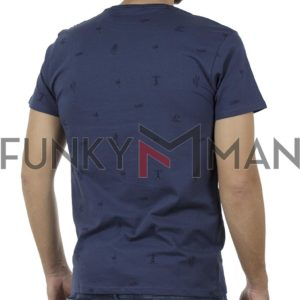 Κοντομάνικο Μπλούζακι All Over Print T-Shirt DOUBLE TS-100 Indigo