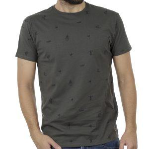 Κοντομάνικο Μπλούζακι All Over Print T-Shirt DOUBLE TS-100 Χακί