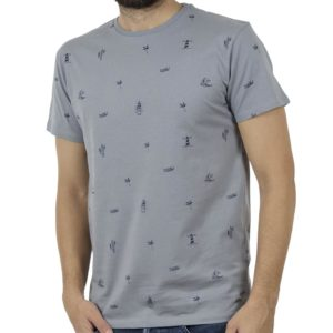 Κοντομάνικο Μπλούζακι All Over Print T-Shirt DOUBLE TS-100 Stone Blue