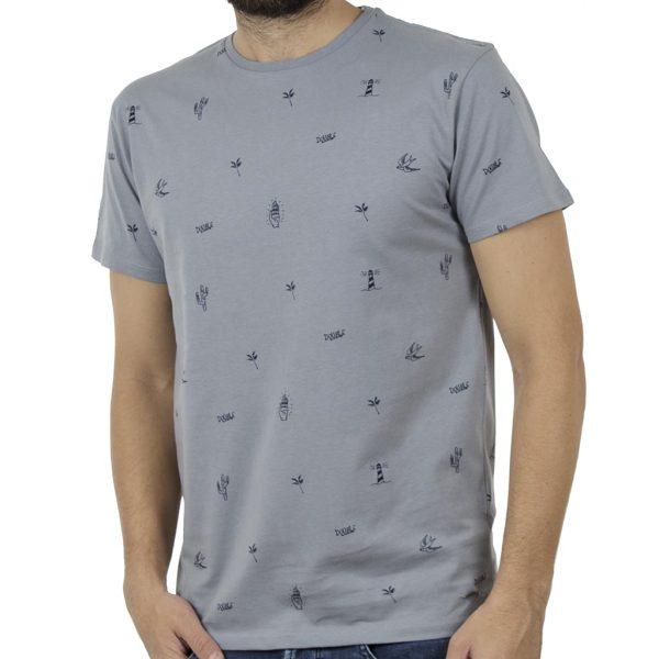 Κοντομάνικο Μπλούζακι All Over Print T-Shirt DOUBLE TS-100 Stone Blue