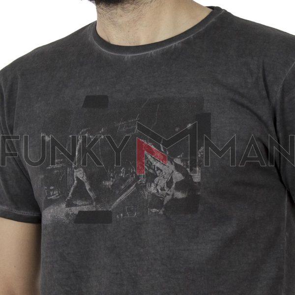 Κοντομάνικη Μπλούζα Crew Neck T-Shirt DOUBLE TS-91 σκούρο Γκρι