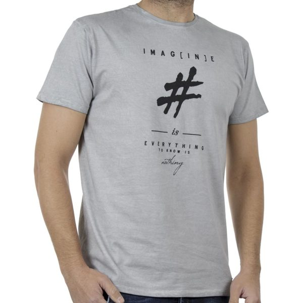 Κοντομάνικη Μπλούζα Crew Neck T-Shirt DOUBLE TS-91 ανοιχτό Γκρι