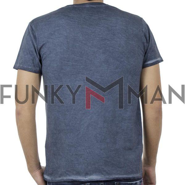 Κοντομάνικη Μπλούζα Crew Neck T-Shirt DOUBLE TS-91 Indigo