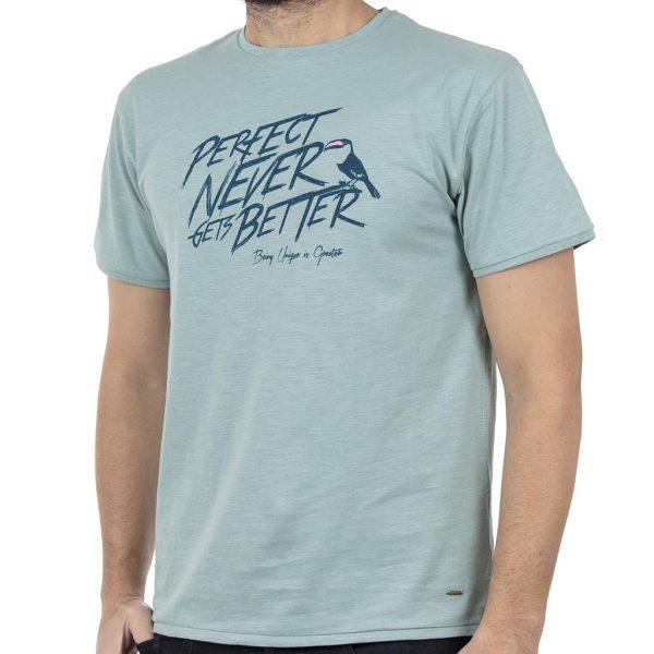 Κοντομάνικο Μπλούζακι Flama T-Shirt DOUBLE TS-94 ανοιχτό Πράσινο