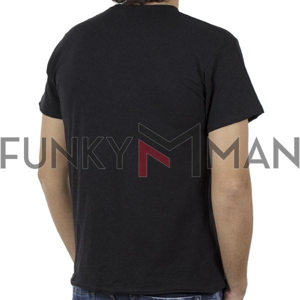 Κοντομάνικη Μπλούζα Flama Raw Neck T-Shirt DOUBLE TS-96 Μαύρο