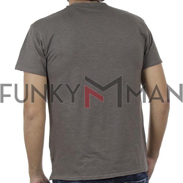 Κοντομάνικη Μπλούζα Flama Raw Neck T-Shirt DOUBLE TS-96 Χακί