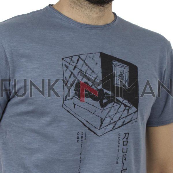 Κοντομάνικη Μπλούζα Flama Raw Neck T-Shirt DOUBLE TS-96 Stone Blue