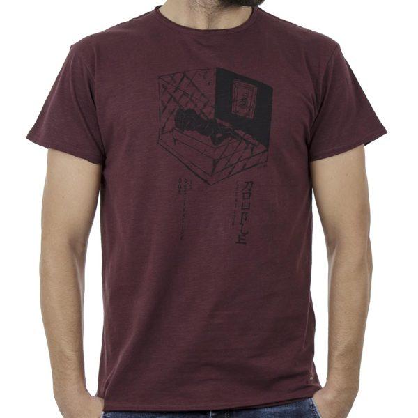 Κοντομάνικη Μπλούζα Flama Raw Neck T-Shirt DOUBLE TS-96 Wine Red