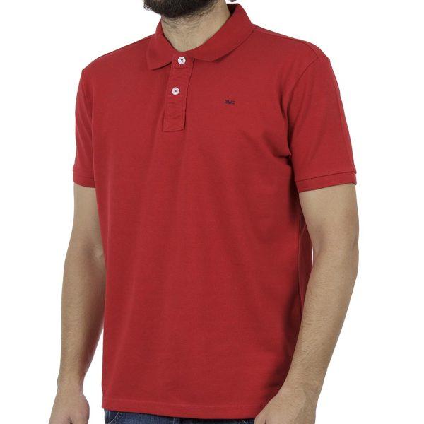 Κοντομάνικη Μπλούζα με Γιακά Polo FUNKY BUDDHA FBM001-11119 Κόκκινο