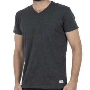 Κοντομάνικη Μπλούζα V-Neck T-Shirt FUNKY BUDDHA FBM002-04118 Ανθρακί