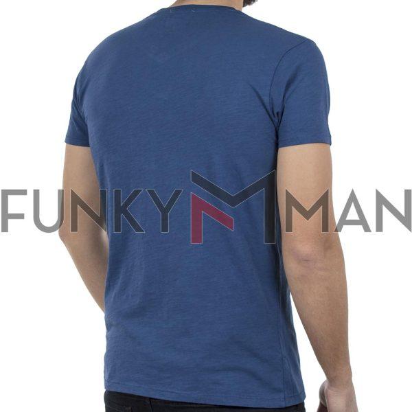 Κοντομάνικη Μπλούζα V-Neck T-Shirt FUNKY BUDDHA FBM002-04118 Μπλε