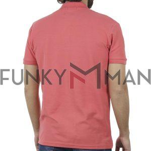 Κοντομάνικη Μπλούζα με Γιακά Polo Garage55 GAM200-11119 Κοραλλί