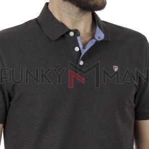 Κοντομάνικη Μπλούζα με Γιακά Polo Garage55 GAM201-11119 Ανθρακί