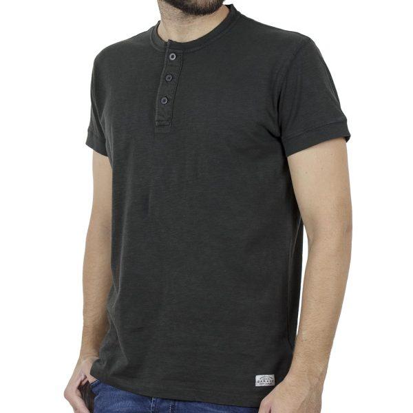 Κοντομάνικη Μπλούζα Henley T-Shirt Garage55 GAM241-04119 Ανθρακί