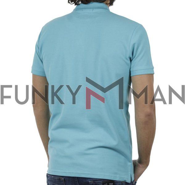 Κοντομάνικη Μπλούζα με Γιακά Polo Garage55 GAM200-11119 Sky Blue