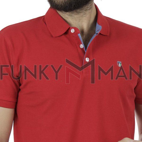 Κοντομάνικη Μπλούζα με Γιακά Polo Garage55 GAM201-11119 Κόκκινο