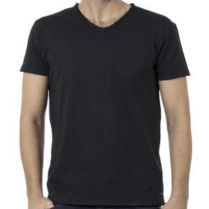 Κοντομάνικη Μπλούζα V-Neck T-Shirt Garage55 GAM203-04118 Μαύρο