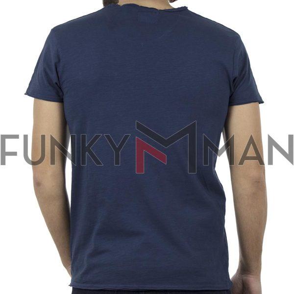 Κοντομάνικη Μπλούζα V-Neck T-Shirt Garage55 GAM203-04118 Μπλε