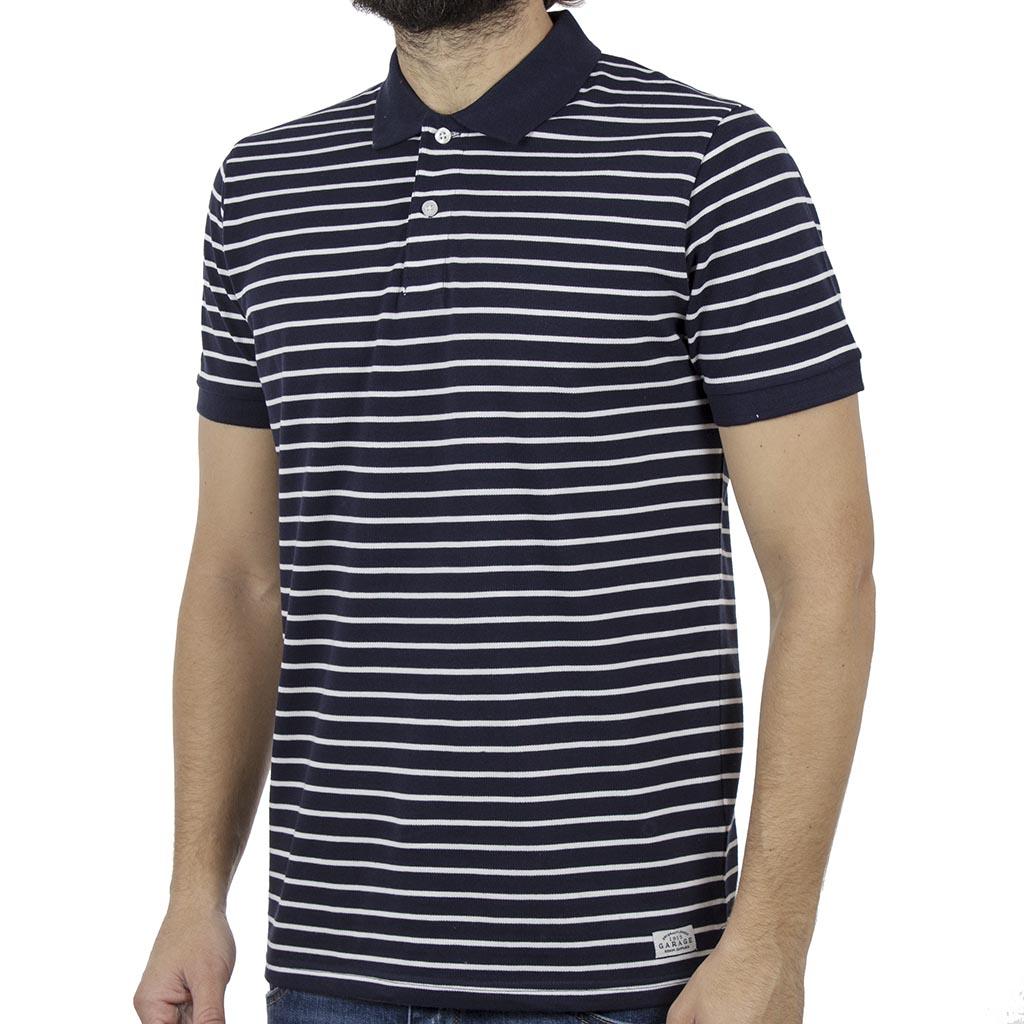e73f36105dae Ριγέ Κοντομάνικη Μπλούζα με Γιακά Polo Garage55 GAM203-11119 Navy ...