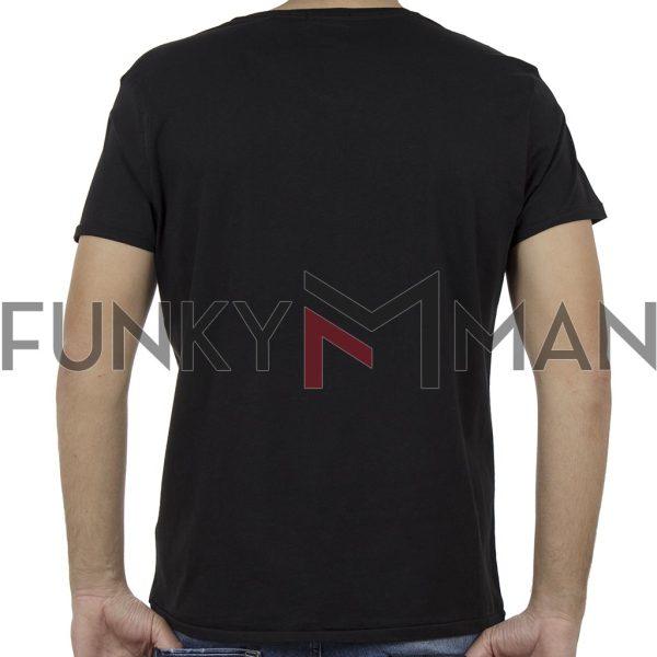Κοντομάνικη Μπλούζα V-Neck T-Shirt Garage55 GAM205-04119 Μαύρο