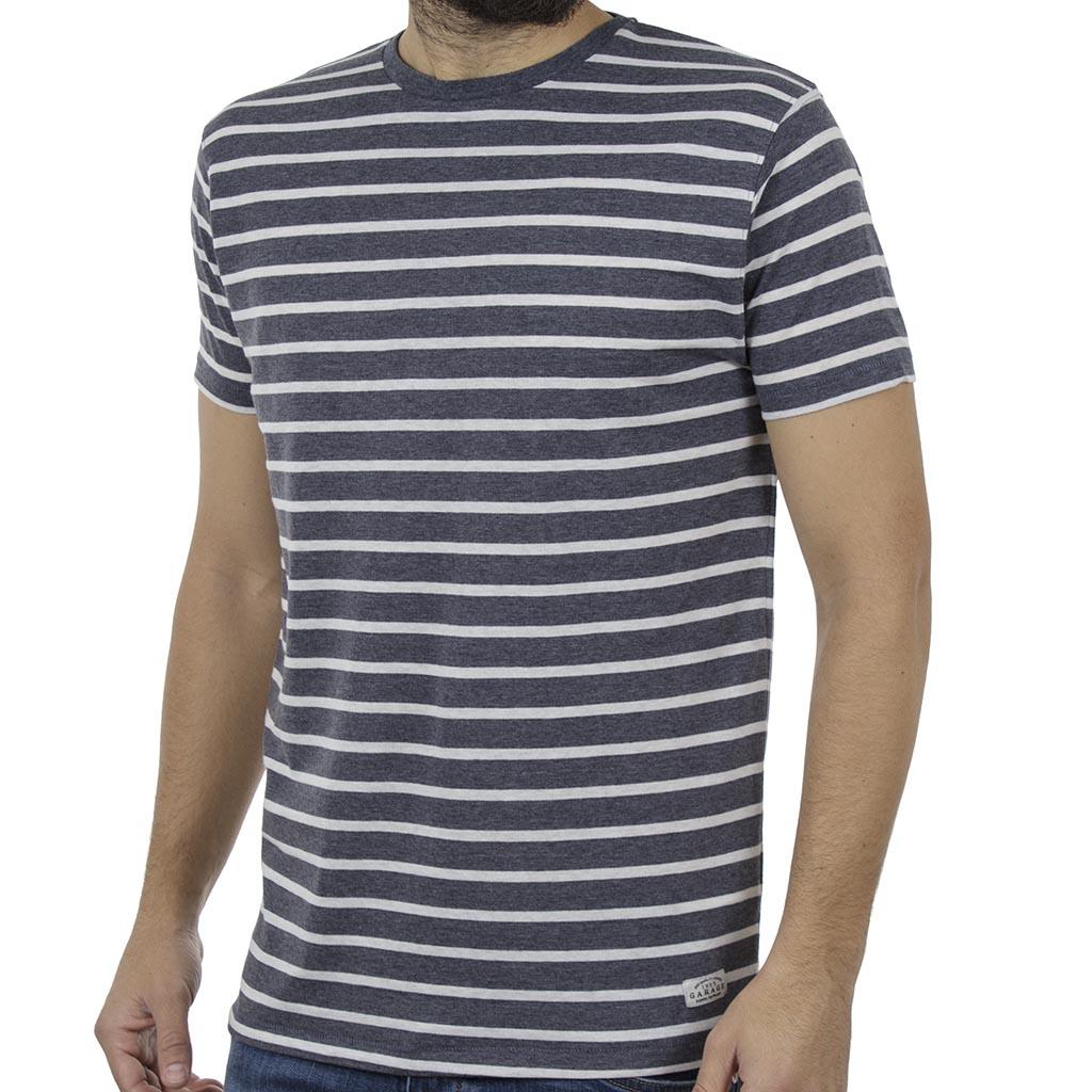 81b75c35f469 Ριγέ Κοντομάνικη Μπλούζα T-Shirt Garage55 GAM242-04119 Indigo