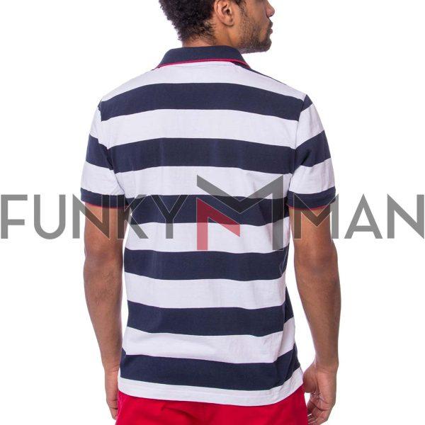 Ριγέ Κοντομάνικη Μπλούζα Single Jersey POLO HEAVY TOOLS DENDER Navy