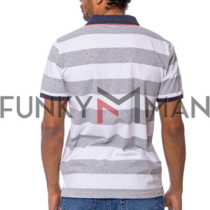 Ριγέ Κοντομάνικη Μπλούζα Single Jersey POLO HEAVY TOOLS DENDER ανοιχτό Γκρι