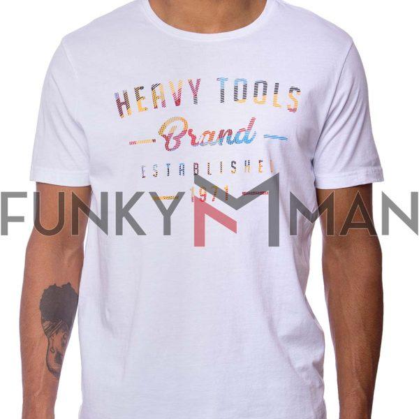 Κοντομάνικη Μπλούζα Single Jersey T-Shirt HEAVY TOOLS MAGER Λευκό