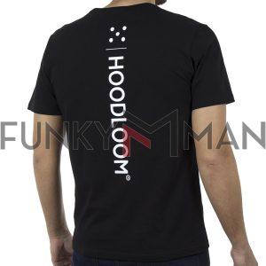 Κοντομάνικη Μπλούζα Jersey T-Shirt HOODLOOM HSB-1-19 Back print Μαύρο