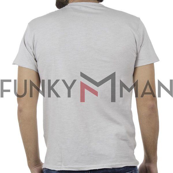 Κοντομάνικη Μπλούζα Flama Raw Neck T-Shirt DOUBLE TS-96 Ice