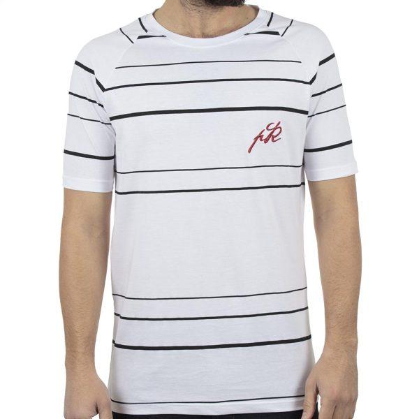 Ριγέ Κοντομάνικο T-Shirt PONTEROSSO 19-1022 STRIPED Λευκό