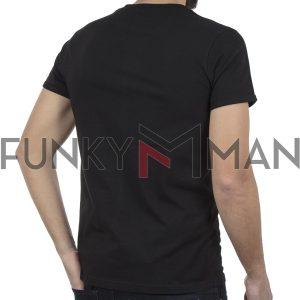Κοντομάνικη Μπλούζα T-Shirt PONTEROSSO 19-1024 FRAME Μαύρο