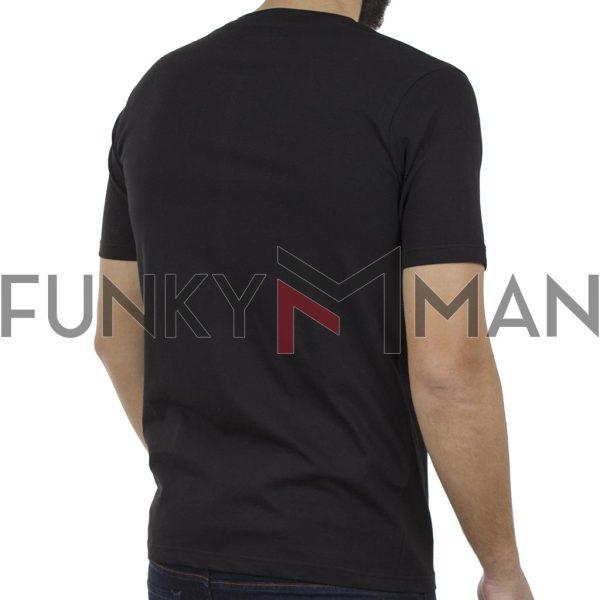 Κοντομάνικη Μπλούζα T-Shirt PONTEROSSO 19-1028 STRIP Μαύρο