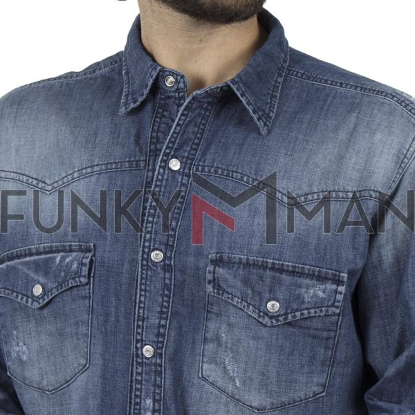 Τζιν Πουκάμισο Comfort-Regular Fit SHAFT 4020 Μπλε