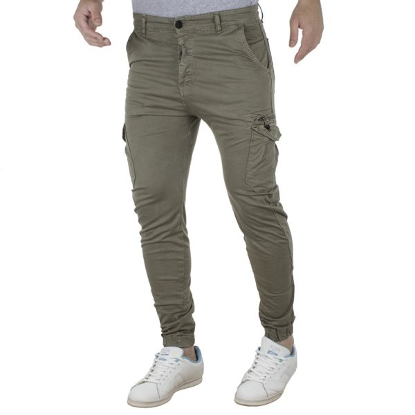 Cargo Παντελόνι με Λάστιχα Back2jeans B19 army Χακί