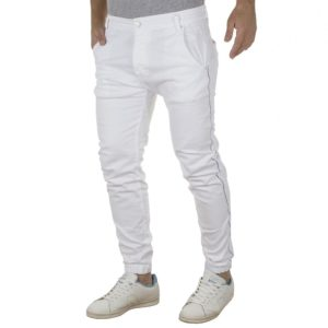 Τζιν Chinos Παντελόνι με Λάστιχα Back2jeans B6B slim Λευκό