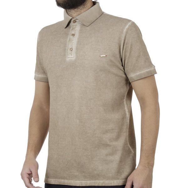 Κοντομάνικη Μπλούζα με Γιακά Polo Back2jeans B29 Beige