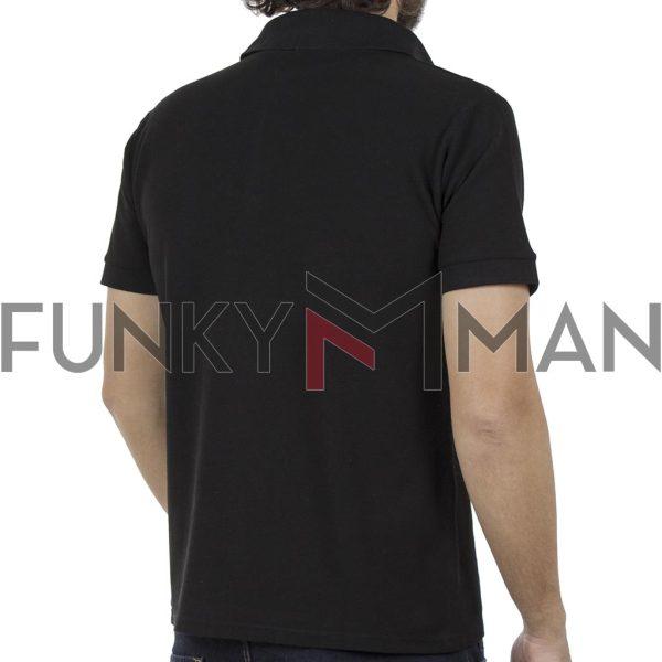 Κοντομάνικη Μπλούζα με Γιακά Polo Back2jeans B29 Μαύρο