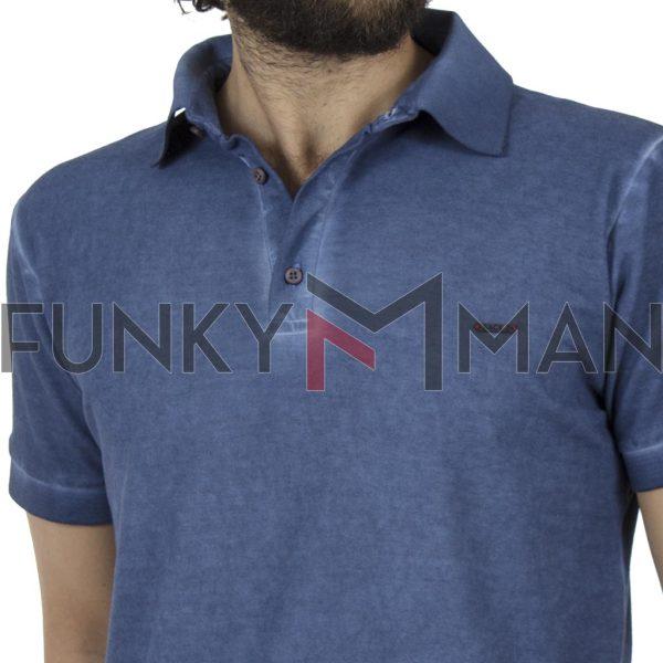 Κοντομάνικη Μπλούζα με Γιακά Polo Back2jeans B29 Indigo