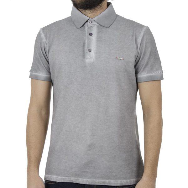 Κοντομάνικη Μπλούζα με Γιακά Polo Back2jeans B29 ανοιχτό Γκρι
