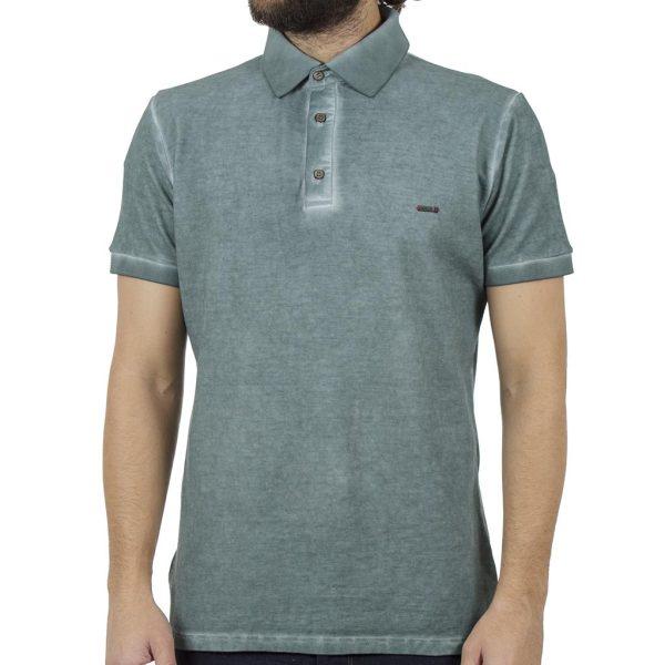 Κοντομάνικη Μπλούζα με Γιακά Polo Back2jeans B29 Pesto