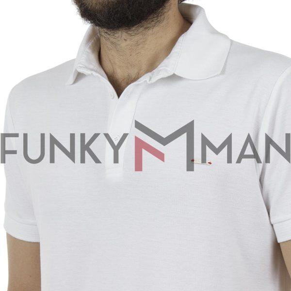 Κοντομάνικη Μπλούζα με Γιακά Polo Back2jeans B29 Λευκό