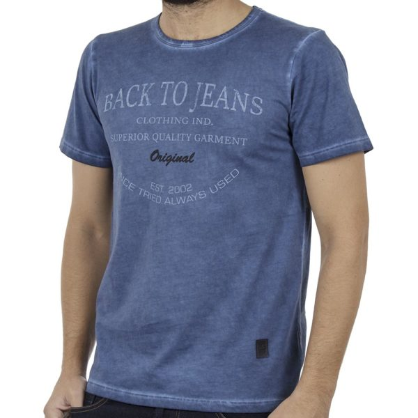 Κοντομάνικη Μπλούζα T-Shirt Back2jeans B16 Indigo