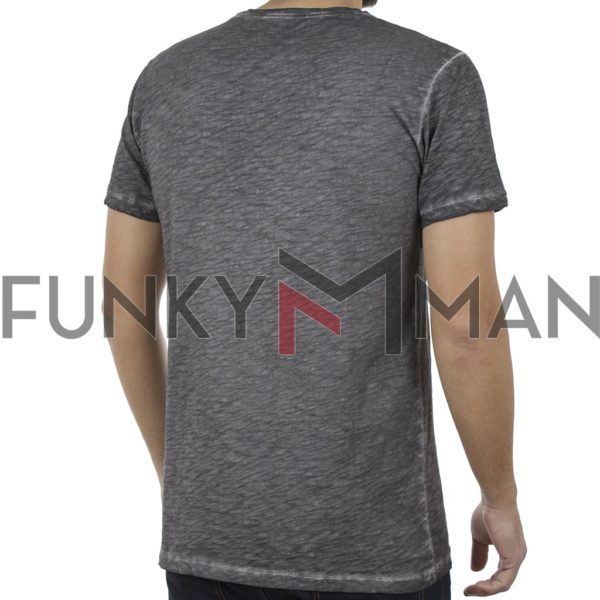 Κοντομάνικη Μπλούζα T-Shirt Back2jeans B18 σκούρο Γκρι