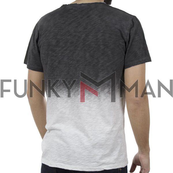 Κοντομάνικη Μπλούζα Δίχρωμο T-Shirt Back2jeans B19 Ανθρακί