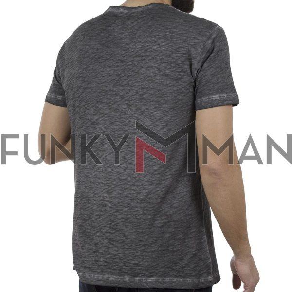 Κοντομάνικη Μπλούζα T-Shirt Back2jeans B27 Ανθρακί